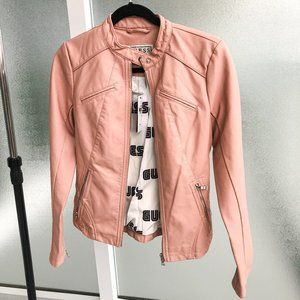Guess faux leather moto jacket in dusty pink